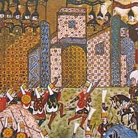 Janissaries battling the Knights Hospitaller, who are depicted wearing Eastern Armour. during the Siege of Rhodes in 1522.