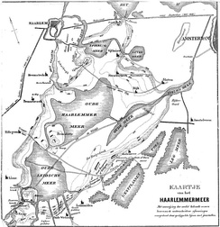 Historic map of the Haarlemmermeer before reclamation.