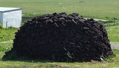 A peat stack in Ness on the Isle of Lewis (Scotland)