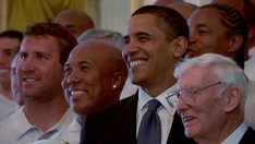President Obama poses with the Steelers in 2009. Left to right: Ben Roethlisberger, Hines Ward, Obama, and Dan Rooney.