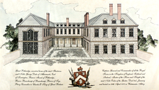 Conjectural reconstruction of Potheridge House, Merton, Devon, built by General George Monck, 1st Duke of Albemarle (1608–1670) between 1660 and 1670. South front. It was partially demolished after 1734. The only surviving part in 2014 is the right hand block. The left hand block was a chapel
