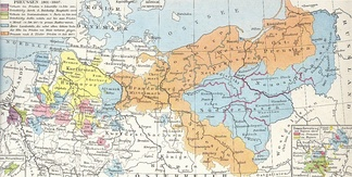 Prussia (orange) and its territories lost after the War of the Fourth Coalition (other colours)