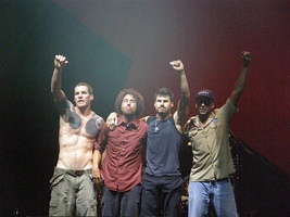 Rage Against the Machine at Vegoose, 2007. Left to right: Tim Commerford, Zack de la Rocha, Brad Wilk, Tom Morello.