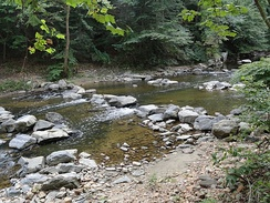 Boulder step pools installed in Rock Creek, Washington, D.C. The pools raise the water level and allow fish to swim over a partially-submerged sewer pipe which crosses the creek.