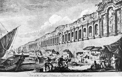 An engraving of the seaward walls of the city of Split by Robert Adam, 1764. The walls were originally built for the Roman Diocletian's Palace.