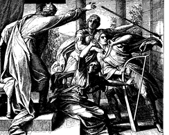 Saul attacks David (who had been playing music to help Saul feel better), 1860 woodcut by Julius Schnorr von Karolsfeld, a Lutheran
