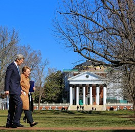 President Sullivan speaks with U.S. Secretary of State John Kerry in front of The Rotunda in 2013