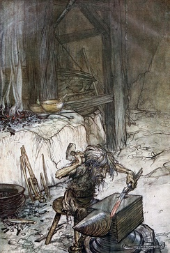 Mime at the anvil by Arthur Rackham