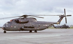 A S-65Öe of the Austrian Air Force parked at RAF Greenham Common in 1974