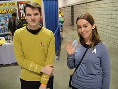 Fans at a science fiction convention dressed as characters from Star Trek