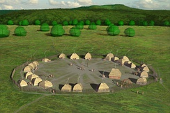 Artists conception of the Fort Ancient SunWatch Indian Village in Dayton