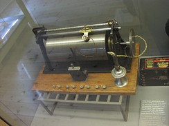 Magnetic wire recorder, invented by Valdemar Poulsen, 1898. It is exhibited at Brede works Industrial Museum, Lyngby, Denmark.