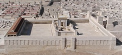 Model of the Temple Mount and the Second Temple, late 1st century BCE or early 1st century CE, reflecting descriptions in tractate Middot.