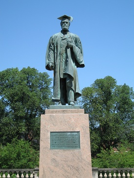 Statue of Rochester's first president, Martin Brewer Anderson.