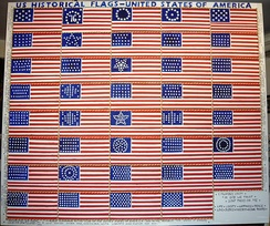 Oil painting depicting the 39 historical U.S. flags
