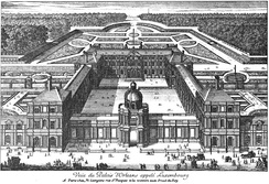 View of the Palais d'Orléans, c. 1643, with the garden parterre designed by Jacques Boyceau visible behind