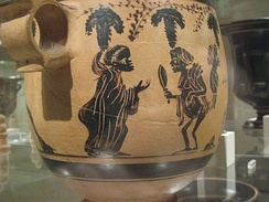 Judgment of Paris on a skyphos of the Kabeiric Group (Vine Tendril Group), mid 4th century BC, now in the Metropolitan Museum of Art, New York