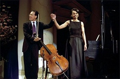 Ma with Condoleezza Rice after performing a duet at the presentation of the 2001 National Medal of Arts and National Humanities Medal Awards.