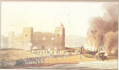 Ras Al Khaimah under attack by the British in December 1819.