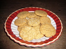 Oatmeal cookies made with oatmeal, flour, sugar and butter