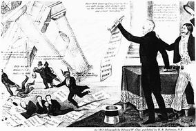 "A Democratic cartoon from 1833 shows Jackson destroying the Bank with his ""Order for the Removal"", to the annoyance of Bank President Nicholas Biddle, shown as the Devil himself. Numerous politicians and editors who were given favorable loans from the Bank run for cover as the financial temple crashes down. A famous fictional character, Major Jack Downing (right), cheers: ""Hurrah! Gineral!"""