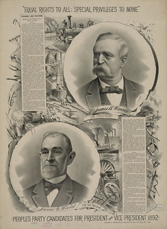 1892 People's Party campaign poster promoting James Weaver for President of the United States