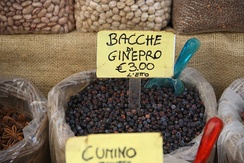 Dried juniper berries at a market in Syracuse, Sicily