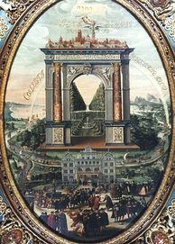 Apotheosis of Gdańsk by Izaak van den Blocke. The Vistula-borne trade of goods in Poland was the main source of prosperity during the city's Golden Age.