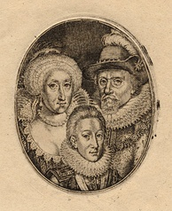 Engraving by Simon de Passe of Charles and his parents, King James and Queen Anne, c. 1612