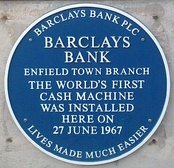 Plaque commemorating installation of world's first bank cash machine