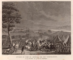 Attack by the followers of Babeuf on the army camp of Grenelle on 9 and 10 September 1796. Drawing by Abraham Girardet, engraving by Pierre-Gabriel Berthault, 1802. (BNF, Département des Estampes)