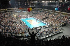 The Štark Arena in New Belgrade, one of the largest indoor arenas in Europe. (FIVB World League final game – Brazil vs Serbia)