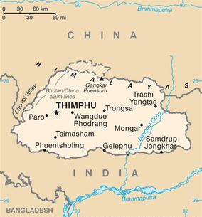 A map of Bhutan showing its borders with China and India as of  2015[update].