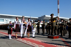 The Presidential Band of the Republic of Moldova played during Joe Biden's state visit to Moldova.