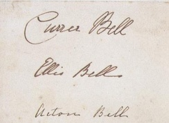 The only existing specimen of the three signatures of Currer, Ellis and Acton Bell.