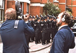 "Film crew at work during an ""anti-Fascist"" march in Leicester, August 1974"