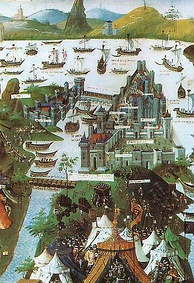 The siege of Constantinople in 1453 (contemporary miniature)