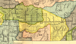 Crow Indian Reservation, 1868 (area 619 and 635). Yellow area 517 is 1851 Crow treaty land ceded to the U.S. It was in the red area 635 that the battle stood. The Lakotas were here without consent from the local Crow tribe, which had treaty on the area. Already in 1873, Crow chief Blackfoot had called for U.S. military actions against the Indian intruders.[10][11]