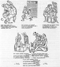 "Pro-Soviet caricatures published in Polish language in Lviv in September 1940, ridiculing ""enemies of the state"" – Polish businessmen, army officers and aristocracy."