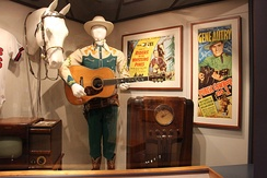Display of Gene Autry memorabilia at the Autry National Center, including his original Martin D-45 guitar, the first one made