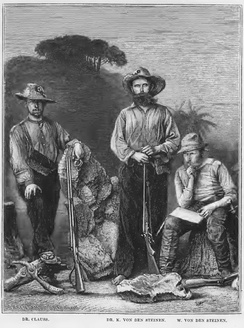 Dr. Karl von den Steinen (center) and his companions on the first expedition in the Xingú region.