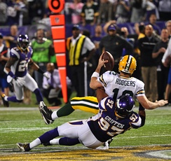 Rodgers sacked by Everson Griffen.