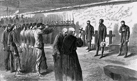 Emperor Maximillian and his generals, Mejía and Miramón, were executed by a firing squad at Querétaro on 19 June 1867.