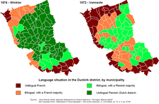 Extent of West Flemish spoken in the arrondissement of Dunkirk in 1874 and 1972 respectively.
