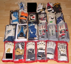 Various styles of goalkeeping gloves