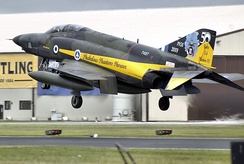 Hellenic Air Force RF-4E Phantom II in a special color scheme, lands at RIAT 2008, UK