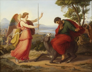 "Balaam and the Angel (1836) by Gustav Jäger. The angel in this incident is referred to as a ""satan"".[8]"