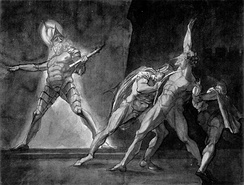 Hamlet, Horatio, Marcellus, and the Ghost of Hamlet's Father. Henry Fuseli, 1780–1785. Kunsthaus Zürich.