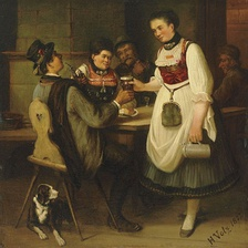Painting by Hermann Volz (1814–1894), Junge Schankmagd bringt Bier an den Stammtisch (Young barmaid bringing beer to the regulars), 1872.