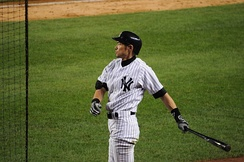 Ichiro as a Yankee, on deck in July 2012